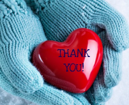 Red Heart on Blue Mittens Thank You