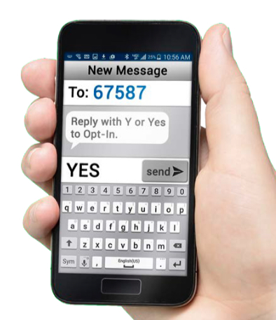 Hand holding cell phone with text message